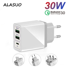 30W USB Quick Charge 3.0 PD Fast Charger for iPhone Huawei Xiaomi Samsung Dual Wall Type C Charger Mobile Phone Charging Adapter dual usb quick charge qc3 0 car charger for iphone xiaomi pocophone f1 huawei samsung mobile phone fast charging adapter in cell
