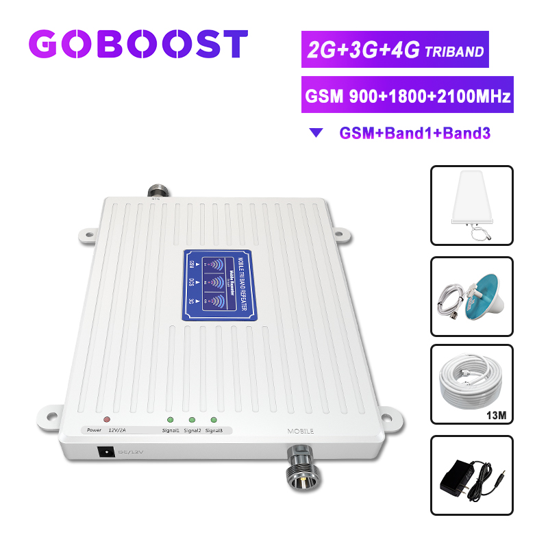 Triband Signal Repeater 2G 3G 4G GSM Cellular Signal Booster LTE 900 1800 2100 70dB Cell Phone Amplifier LDPA Antenna Kit -