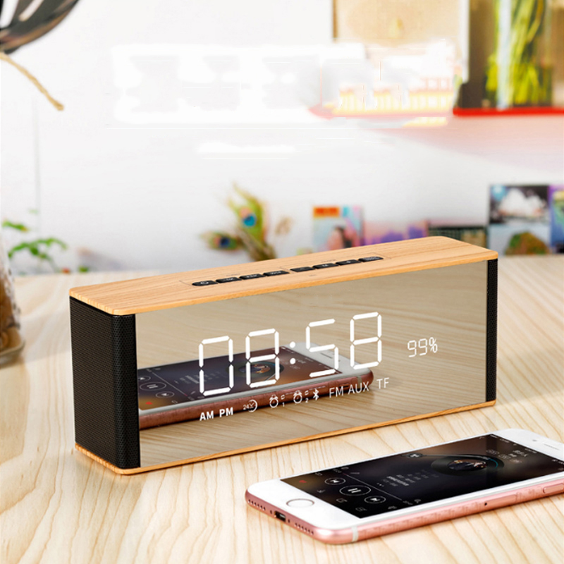 <font><b>Bluetooth</b></font> <font><b>Speaker</b></font> Digital Alarm Clock Radio Mirror Display Led Display Modern Wireless Call Snooze Function Table Clock image