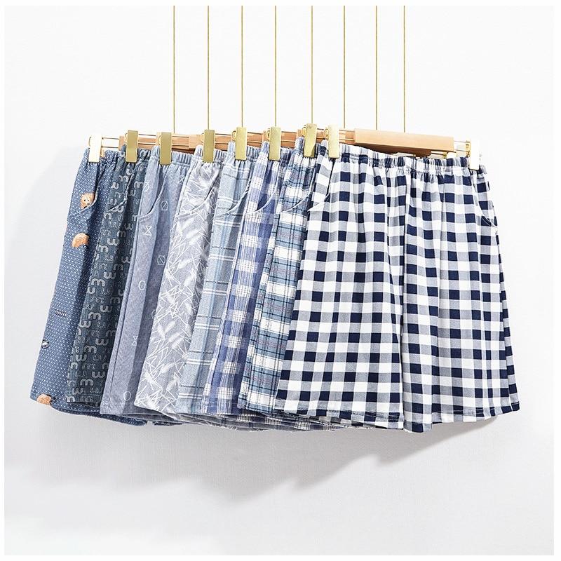 Summer Cotton Men Sleep Bottoms Casual Plus Size Sleepwear Plaid Trousers Male Sleep Shorts Loose Comfortable Man Pyjamas