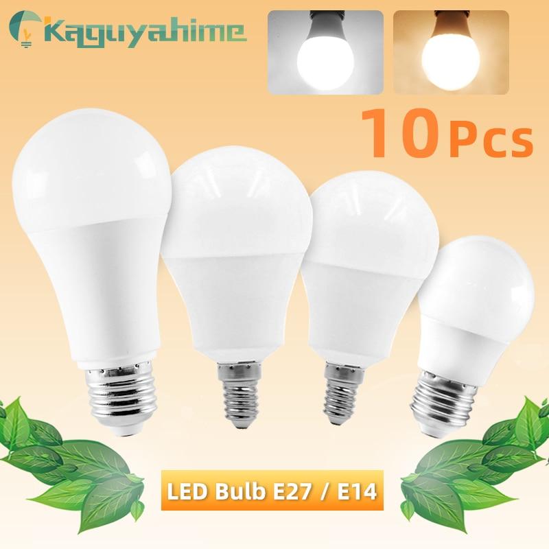 10pcs LED Bulb E27 E14 Dimmable Lamps AC 220V 240V Light Bulb Real Power 20W 18W 15W 12W 9W 5W 3W Smart IC Lampada LED Bombilla