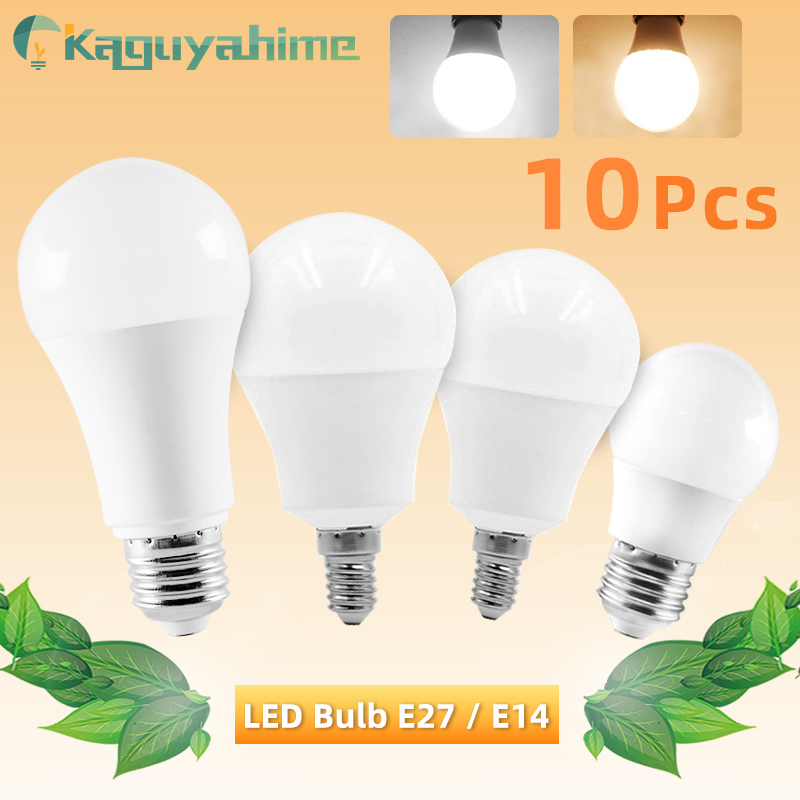 10pcs LED Bulb E27 E14 Dimmable Lamps AC 220V 240V Light Bulb Real Power 20W 18W 15W 12W 9W 5W 3W Smart IC Lampada LED Bombilla