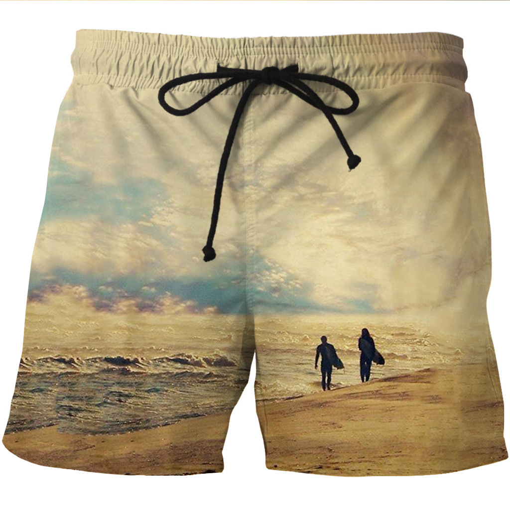 Men's Quick Dry Shore Shorts With Wave Printed Side Pockets And Leisure Shorts