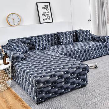 Elastyczna narzuta na sofę bawełna potrzebuje zamówienia 2 szt Pokrowce na narożnik w kształcie litery L narożnik narzuta na sofę do salonu w jednolitym kolorze tanie i dobre opinie coolazy 90-140cm 145-185cm 195-230cm 235-300cm sofa slipcover Rozkładana okładka Drukowane Nowoczesne Floral Trzy-seat sofa