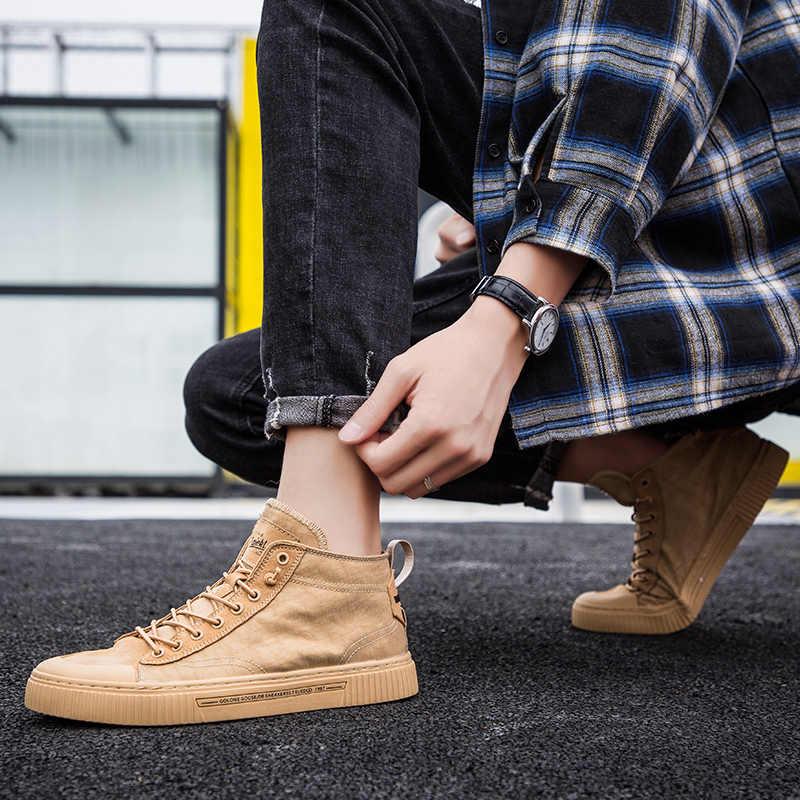 2019 nowe buty męskie buty w stylu casual wysokie góry Sneakers mężczyzn buty wulkanizowane platformy trampki jakości męskie trampki Masculinas buty