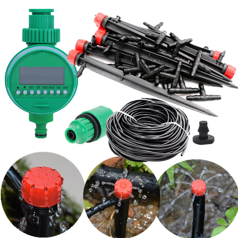 25m Red Adjustale Dripper With Water Timer DIY Drip Irrigation System nursery cultivation Plant Automatic Self Watering E211E