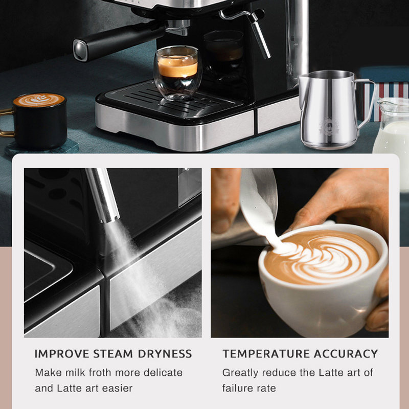HiBREW 20 Bar Espresso Coffee Machine inox Semi Automatic Expresso Cappuccino Maker Steam Wand Hot Water Temperature Meter H5 5