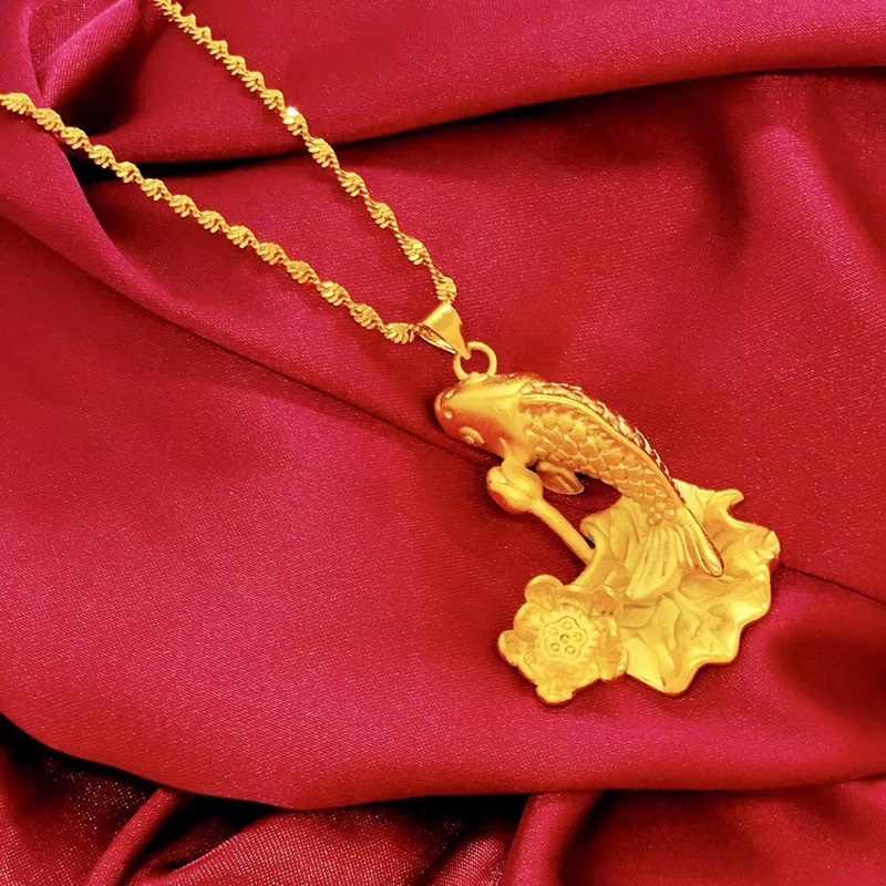 OMHXFC ขายส่ง YM135 ยุโรปผู้หญิงผู้หญิงแฟชั่นผู้หญิงปาร์ตี้งานแต่งงานวันเกิดของขวัญ Carp Lotus DIY อุปกรณ์เสริม 24KT Gold จี้ Charm