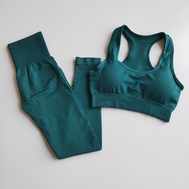 Fitness Women Yoga Set Gym 2-Piece Bras+Seamless Leggings Push Up Pants Exercise Padded Workout Running Suit Sportswear Athletic 1