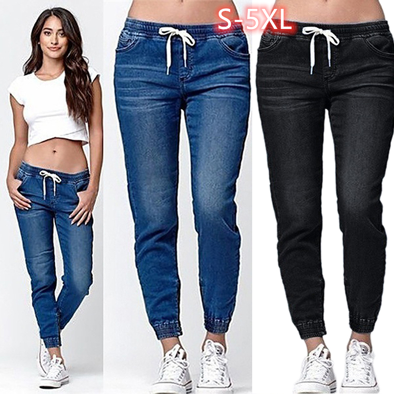 KALENMOS Plus Size Fashion Lace-up Jeans Women Jean Pants Casual Loose Fit Long Denim Pants Ladies Pure Color Large Size S-5XL