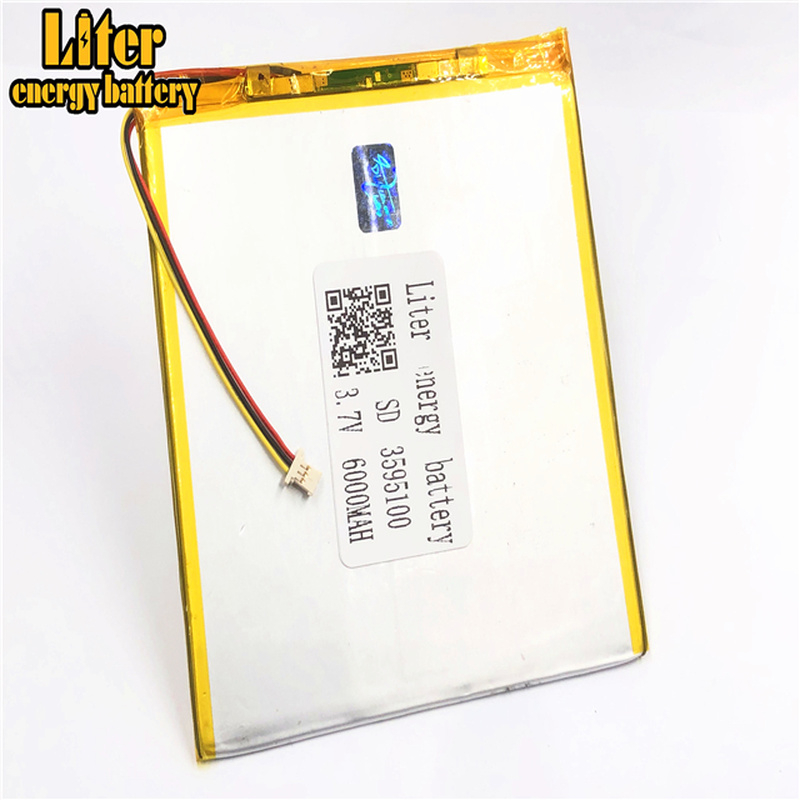 1.0MM 3pin connector 3.7 V 3595100 <font><b>6000mah</b></font> Rechargeable lipo battery solar li ion polymer Tablet PC Battery image