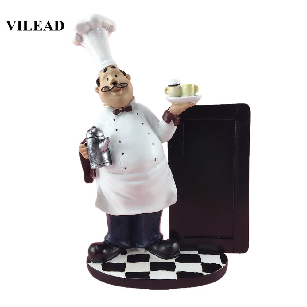VILEAD 24cm Resin Message Board Mustache Chef Figurines Western Restaurant Kitchen Pastry Shop Craft Home Decoration Accessories