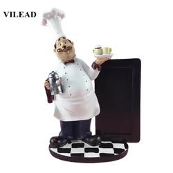 VILEAD 24cm żywica tablica ogłoszeń wąsy Chef figurki zachodnia restauracja do ciast do kuchni sklep dekoracja wnętrz (rękodzieło) akcesoria Figurki i miniatury Dom i ogród -
