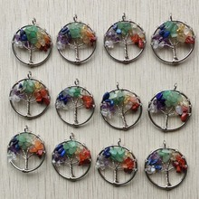 Wholesale 12pcs/lot fashion 7 chakra natural stone Tree of life handmade wire wrapped Pendants 30mm for jewelry marking free