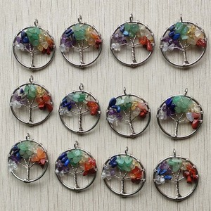 Image 1 - Wholesale 12pcs/lot fashion 7 chakra natural stone Tree of life handmade wire wrapped Pendants 30mm for jewelry marking free