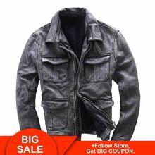 2020 Vintage Grey Men Biker's Leather Jacket Plus Size XXXXL Genuine Thick Cowhide Spring Natural Leather Coat FREE SHIPPING недорого