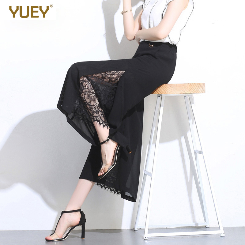 New Cropped Pants Women Black High Waist Transparent Chiffon Pants Thin Side Splits Dots Lady Fashion Wide Leg Summer Pants