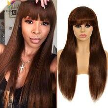 Парик из темных коричневых человеческих волос для черных женщин