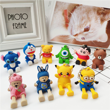 Cartoon mobile phone seat silicone stereo telescopic doll car key ring pendant jewelry bracket for all
