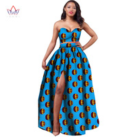 2019 African Clothes Dashiki For Women Bazin Riche Crop Top And Skirt Set 2 Piece Traditional African Clothing Plus Size