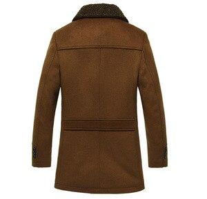 Image 3 - 高品質新冬のウールコートスリムフィットジャケットメンズカジュアル暖かい上着ジャケットとコート男性エンドウコートサイズ M 4XL
