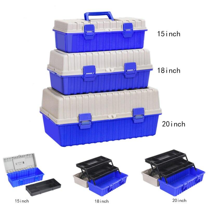 Three Layer Plastic Toolbox Storage Box Hardware Tool Box Home Tool Container Case Car Repair Box