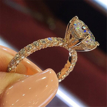 Europe America Fashion Crystal Ring for Women Rose Gold Silver Color Female Engagement Ring Ladies Jewelry Accessories