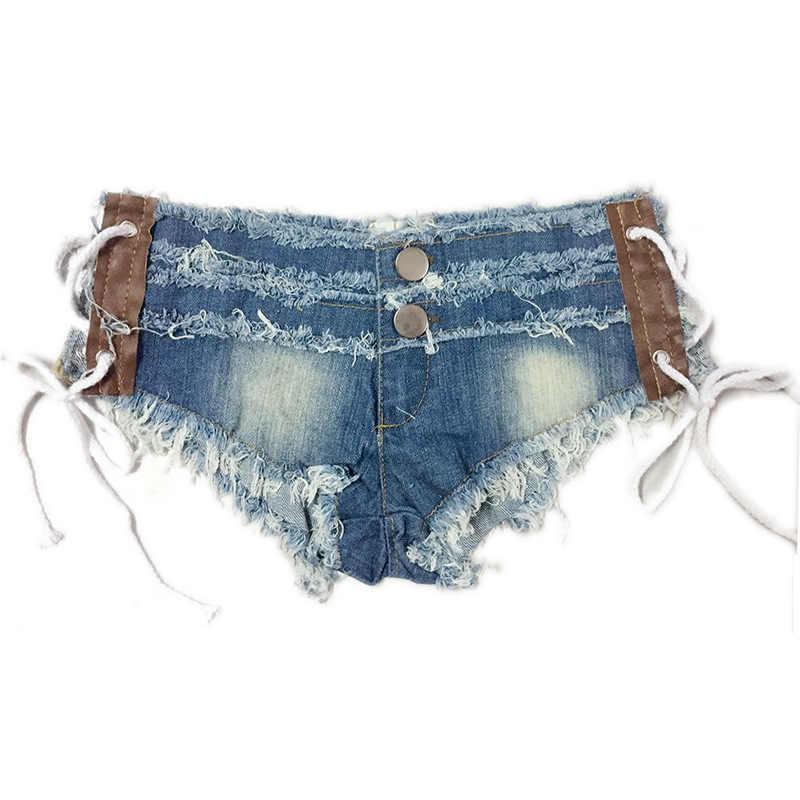 Klub nocny Sexy dziewczyny niskiej talii Denim stringi szorty sznurowane Tassel mikro dżinsowe miniszorty Femme kobiet taniec disco Hotpants ZX36