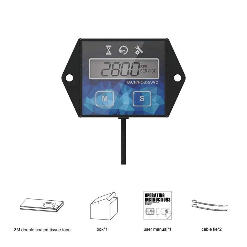Nouveau compteur horaire de tachymètre d'entretien numérique de moteur auto-alimenté pour la moto de Dirtbike de générateur de tondeuse à gazon