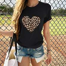 Женская футболка с леопардовым принтом в виде сердца для влюбленных