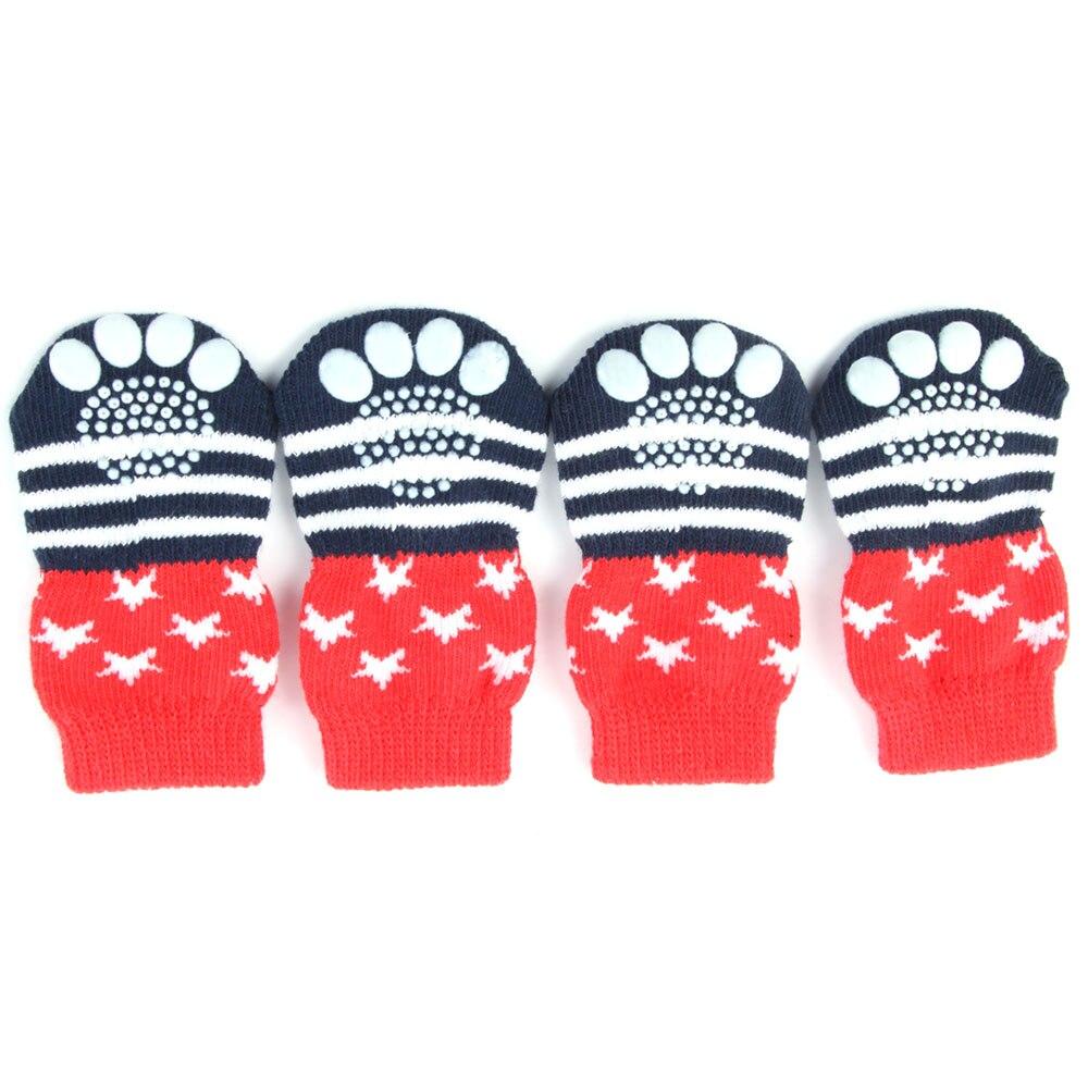 Модные носки для собак нескользящие носки для собак обувь для домашних животных - Цвет: Красный