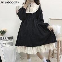 Японский стиль Лолиты Осень Зима Женское платье гофрированный воротник Черное готическое платье милые Kawaii оборки косплей платье с подкладкой