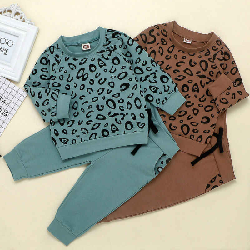 Kids Baby Girl Boy Leopard Clothes Set Tops Sweatshirt Leggings Pants Outfit Set Autumn Girls Boys Clothing