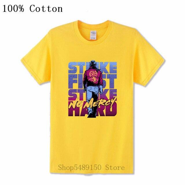 Cobra Kai Karaté Kid T-shirt Strike First 80 S Rétro Film Tee Cadeau US Combat