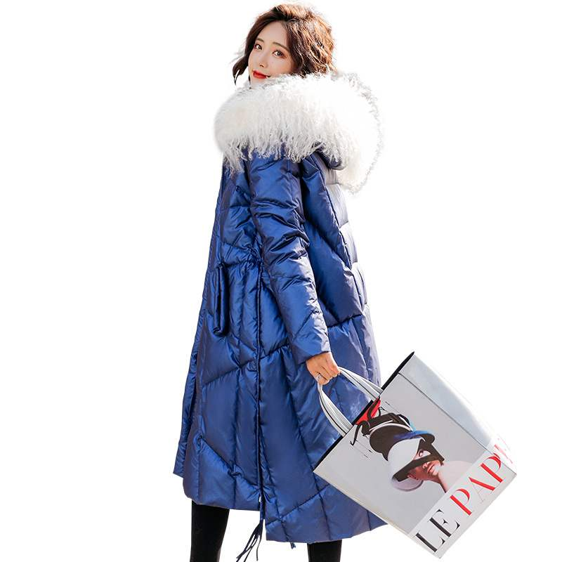 Real Beach Wool Collar Hooded 2019 Winter   Down   Jacket Women Fashion Winter Duck   Down     Coat   Long Warm Waterproof Bright Parka   Coat