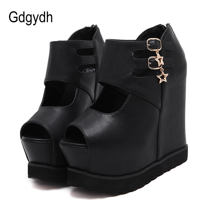 Gdgydh European American Sexy Nightclub Shoes Woman Metal Decoration Platform Wedges Shoes For Women Pumps Peep Toe High Heels
