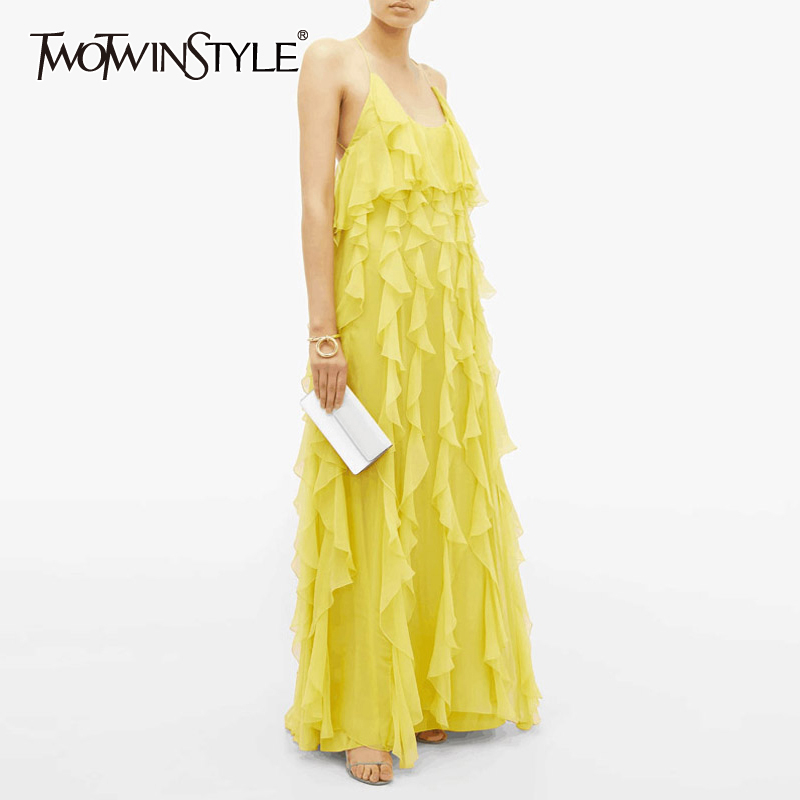 TWOTWINSTYLE Casual Ruffles Women Dress Square Collar Spaghetti Strap High Waist Backless Elegant Dresses For Female Fashion New