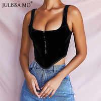 JULISSA MO Schwarz Flanell Sexy Backless Crop Top Frauen Liebsten Unregelmäßige Tank Tops Weibliche Vintage Korsett Weihnachten Party T
