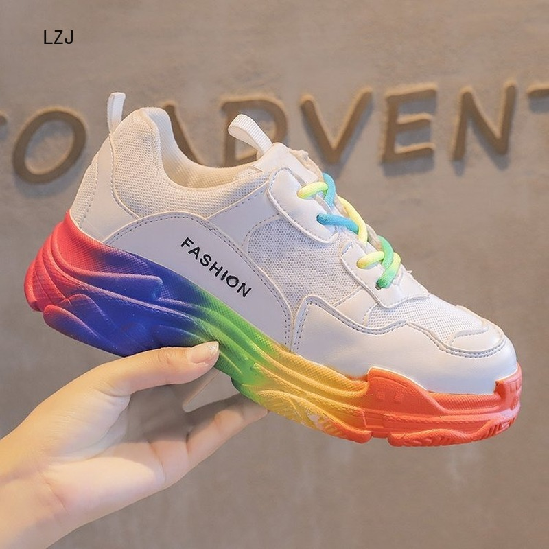 LZJ 2019 New Fashion Chunky Sneakers Women Shoes High Heel Platform Sneakers Casual Shoes Chaussures Femme Zapatos De Mujer