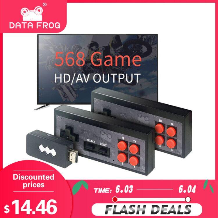 Sapo de Dados Usb sem Fio Construir em 620 Handheld Vídeo Game Console Clássico 8 Bits Jogo Mini Dupla Gamepad Saída av tv