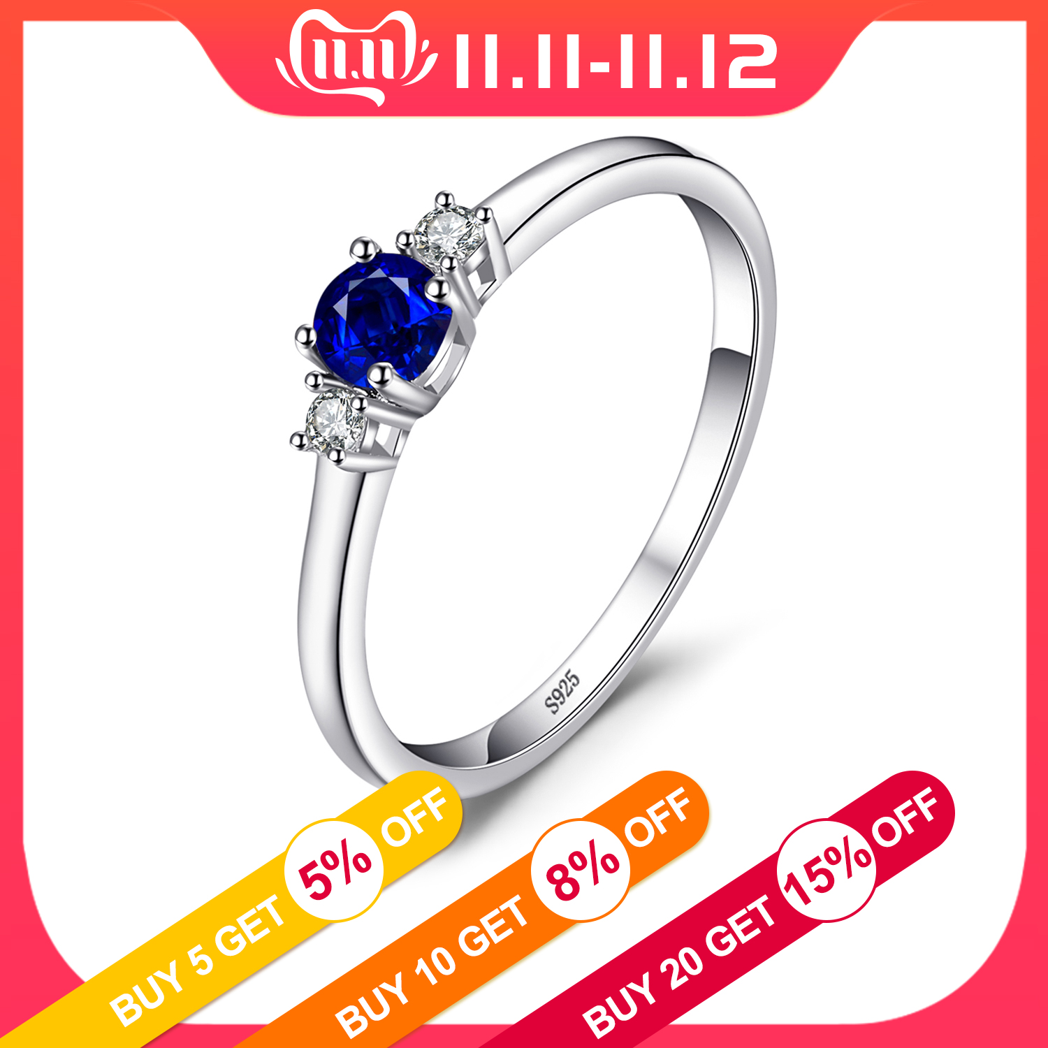 JewelryPalace Created Blue Sapphire Ring 925 Sterling Silver Rings For Women Promise Engagement Ring Silver 925 Gemstone Jewelry