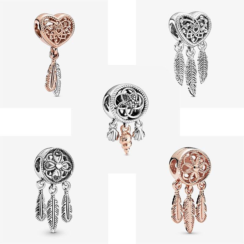 Offre Spéciale 925 argent Sterling coquillage spirituel capteur de rêves breloques perles ajustement Original Pandora Bracelets fabrication de bijoux cadeau