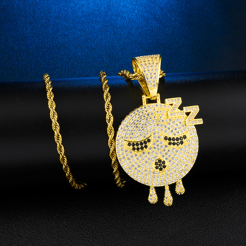 Hip Hop Iced Out Bling Copper Emoji Drip Micro Paved Ghost Necklace Pendants For Men Rapper Jewelry in Pendant Necklaces from Jewelry Accessories