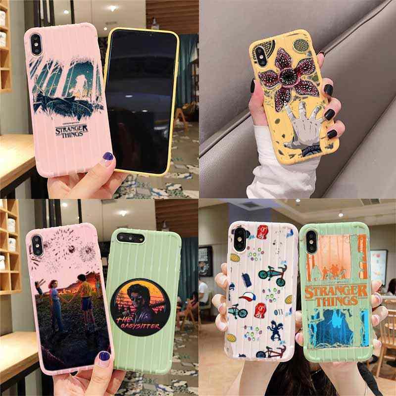 Stranger Things Pattern Trolley Suitcase Texture Phone Case IPhone 11 Pro Max X XS MAX 8 7 6S Plus Cute Candy Color Casing