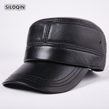 SILOQIN Genuine Leather Hat Men's Flat Cap Snapback Autumn Winter New Quality Sheepskin Military Hat Adjustable Size Leisure Cap unique artificial leather adjustable snapback hat