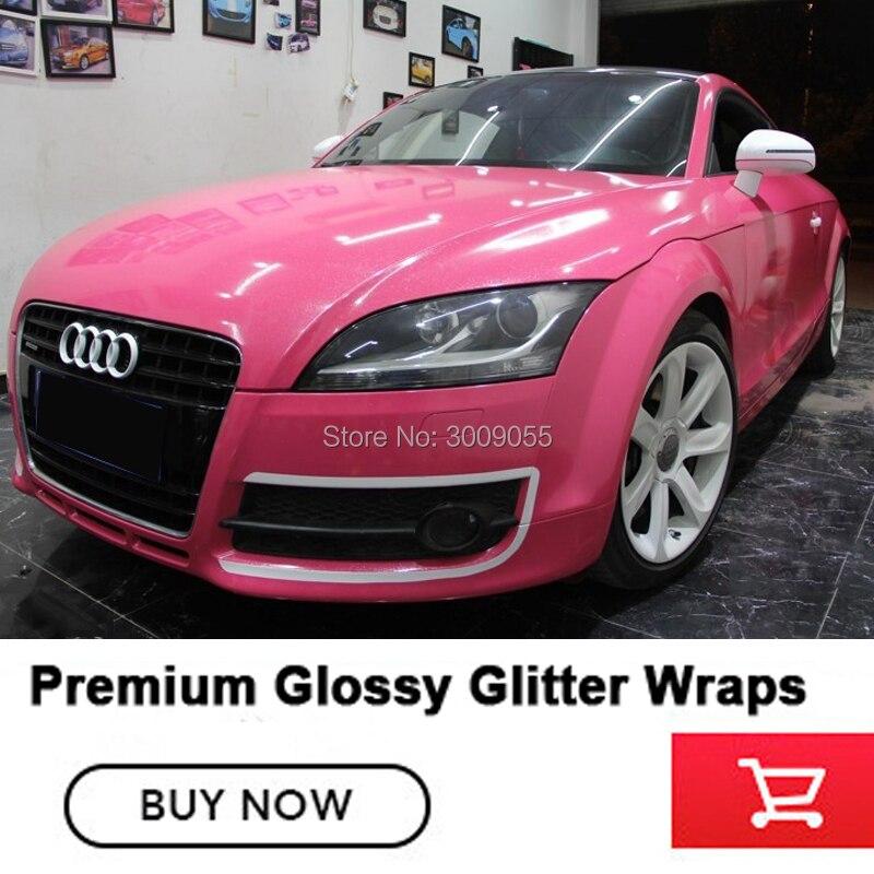 Nouvelle couleur premium rose brillant paillettes wrap film voiture Wrap diamants rose top matière première couleur populaire