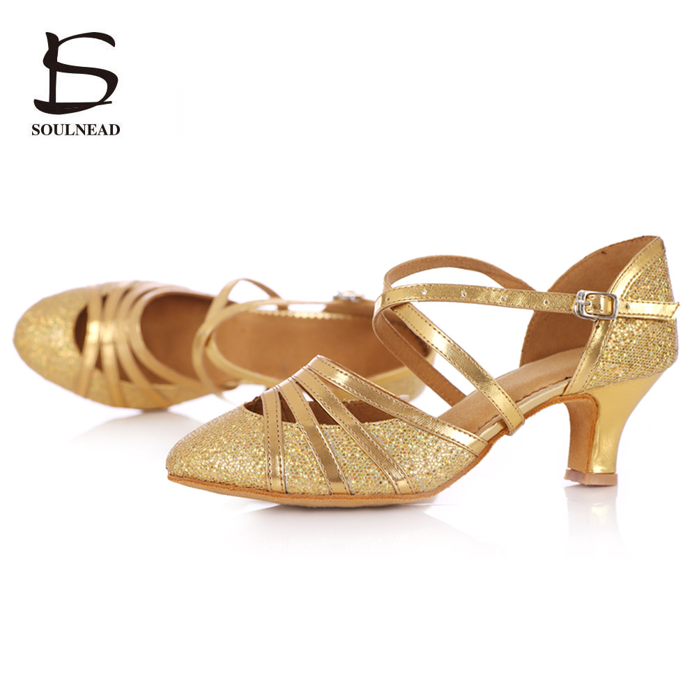 Women's Latin Ballroom Shoes Tango Salsa Dancing Shoes High Heels 5cm Wholesale Girls Dance Shoes Gold Ballroom Dance Sandals