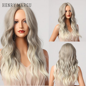 HENRY MARGU Long Ombre Brown Grey Light Blonde White Wavy Synthetic Wigs Middle Part Cosplay Wig for Black Women Heat Resistant