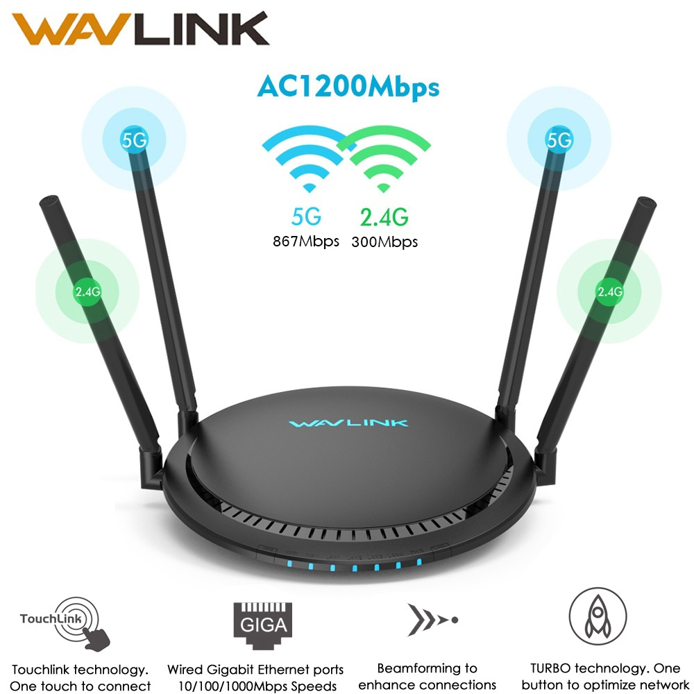 Wavlink 1200Mbps Smart WiFi Router 5Ghz Touchlink AC1200 Dual-Band Gigabit Ethernet Router Wi-fi Wireless 2.4Ghz WiFi Repeater