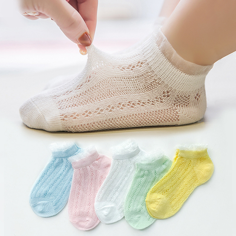 5 Pairs/Lot Children Cotton Socks Boy Girl Baby Infant Ultrathin Fashion Breathable Solid Mesh Socks For Summer 1-12T Teens Kids 6